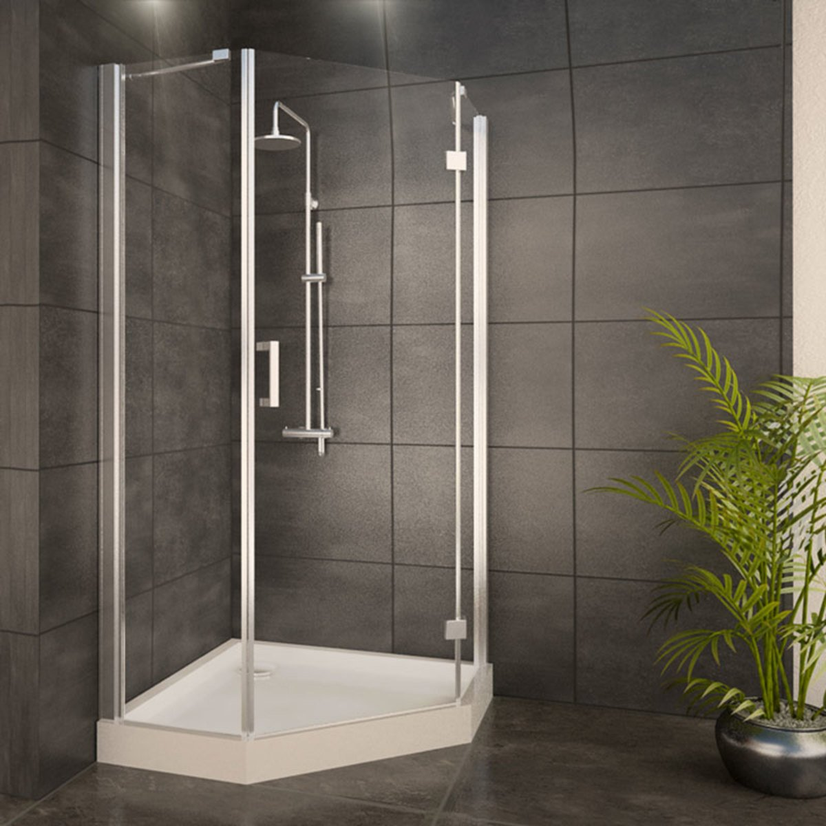 adema glass cabine de douche pentagone avec 1 porte pivotante 90x90x200cm vitre claire avec. Black Bedroom Furniture Sets. Home Design Ideas