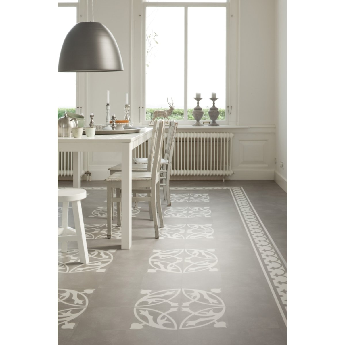 Flexxfloors premium collection pvc vloer tegeldessin tegel grijs 1144998 for Tegel pvc imitatie tegel cement