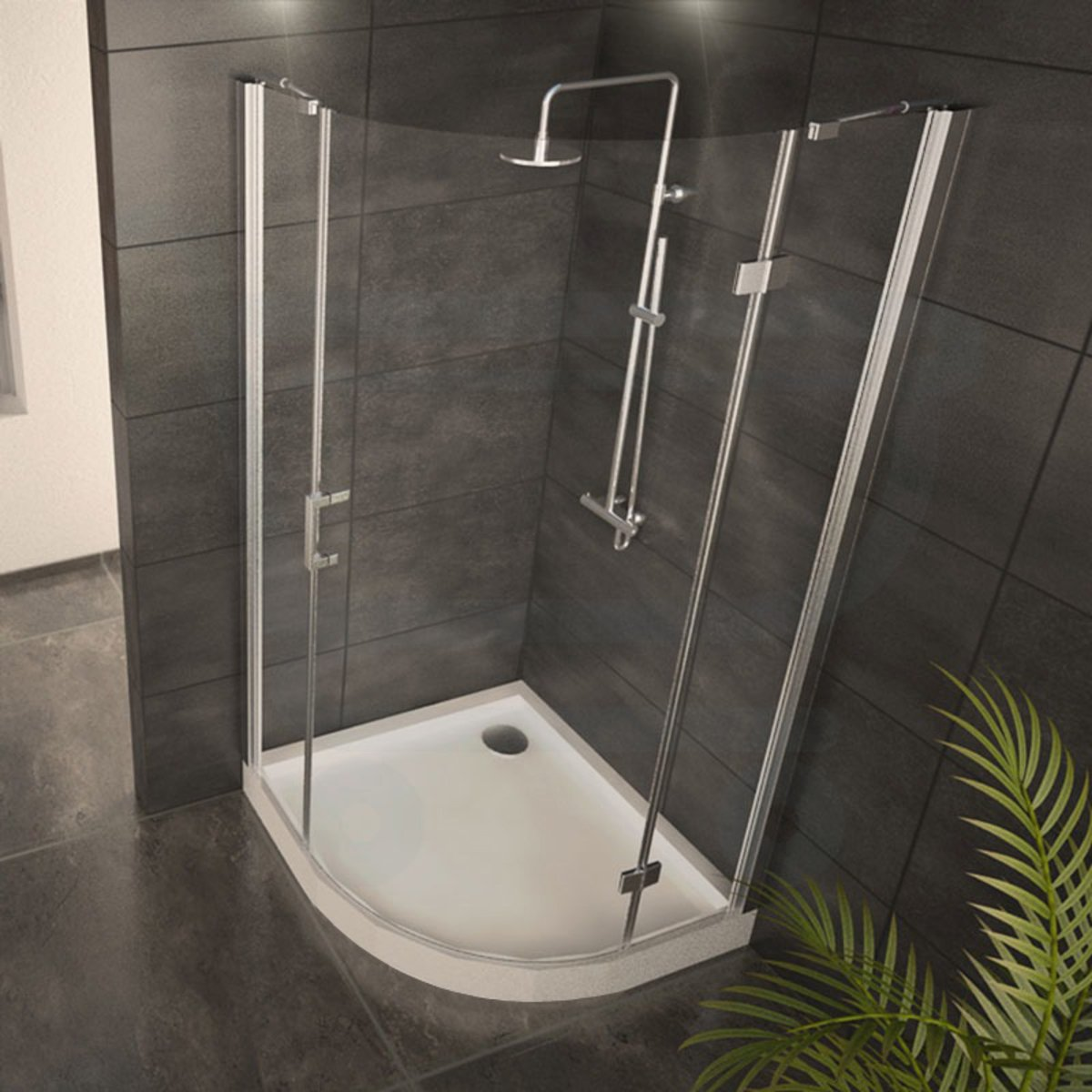 adema glass cabine de douche quart de rond avec 1 porte pivotante 90x90x200cm vitre claire avec. Black Bedroom Furniture Sets. Home Design Ideas