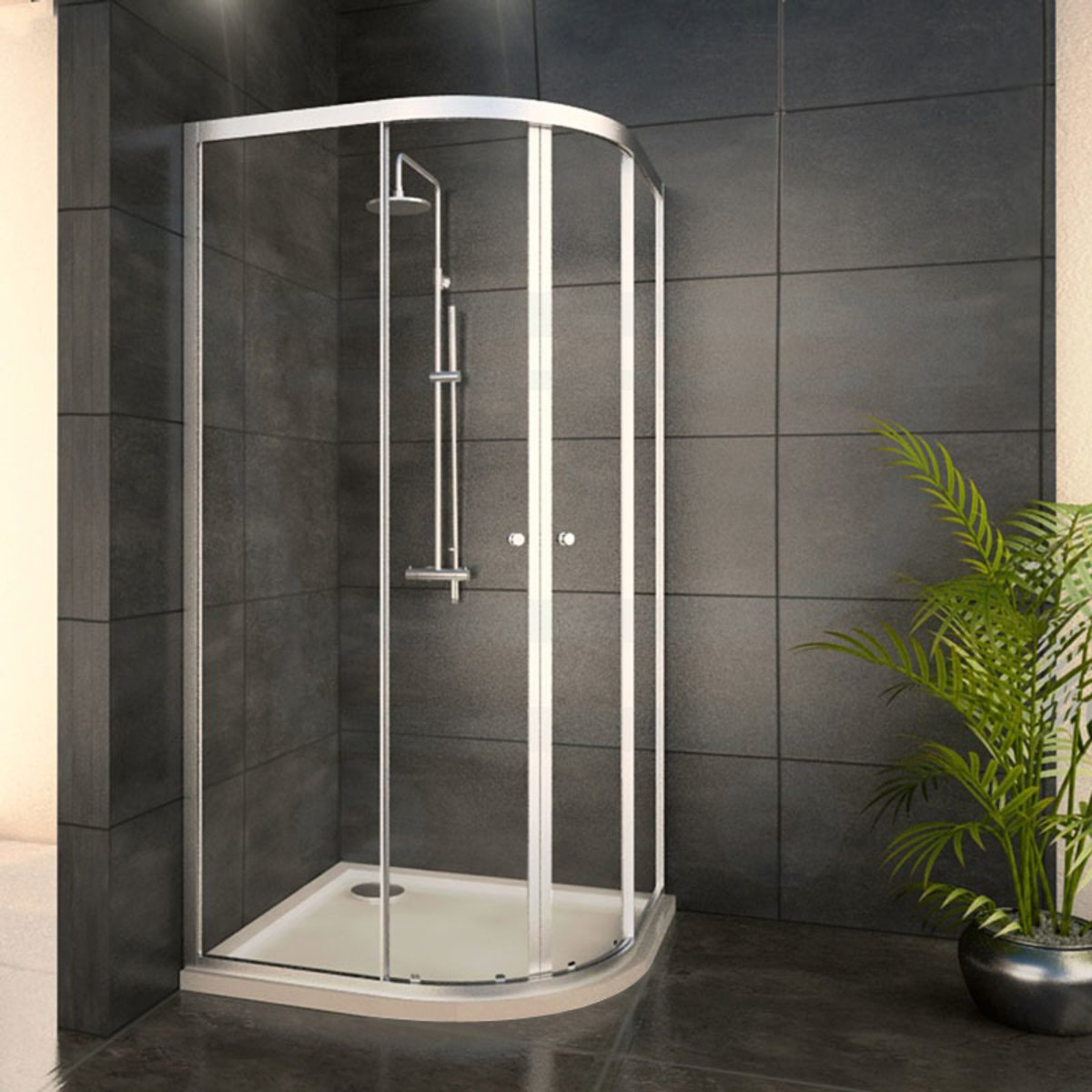 adema glass cabine de douche quart de rond avec 2 portes coulissantes 80x80x185cm vitre claire. Black Bedroom Furniture Sets. Home Design Ideas