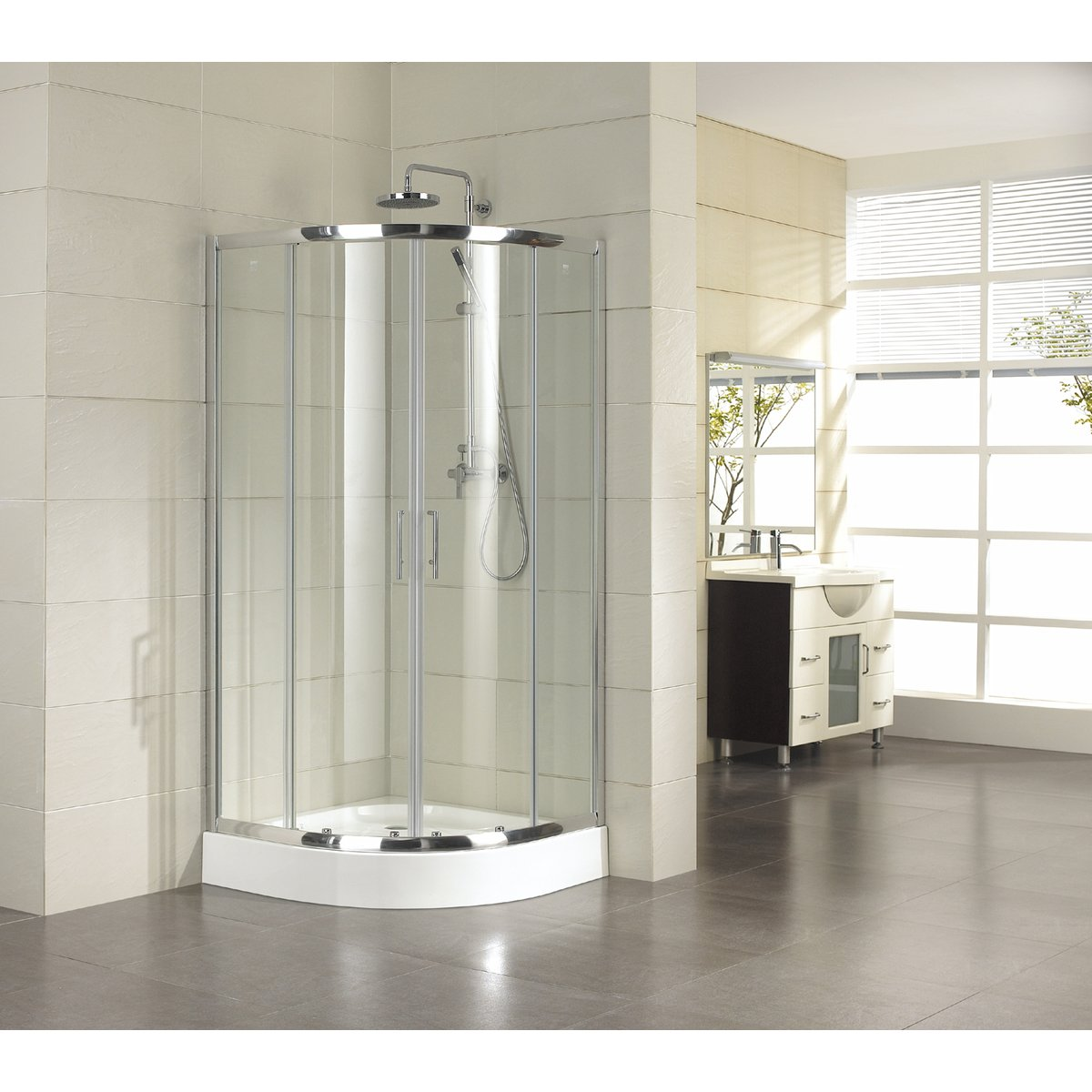 saniclass neptune 2142 cabine de douche 90x90x195cm quart de rond avec verre transparent. Black Bedroom Furniture Sets. Home Design Ideas