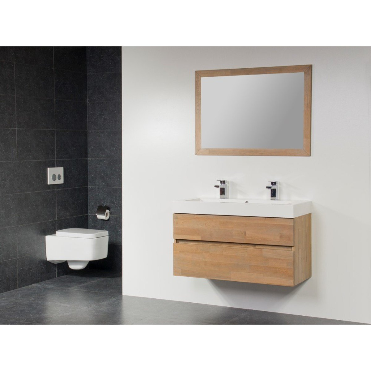 saniclass natural wood meuble salle de bain avec miroir 120cm suspendu grey wash avec vasque. Black Bedroom Furniture Sets. Home Design Ideas