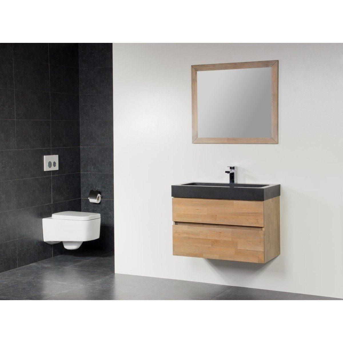 saniclass natural wood meuble salle de bain avec miroir 80cm suspendu grey wash avec vasque en. Black Bedroom Furniture Sets. Home Design Ideas