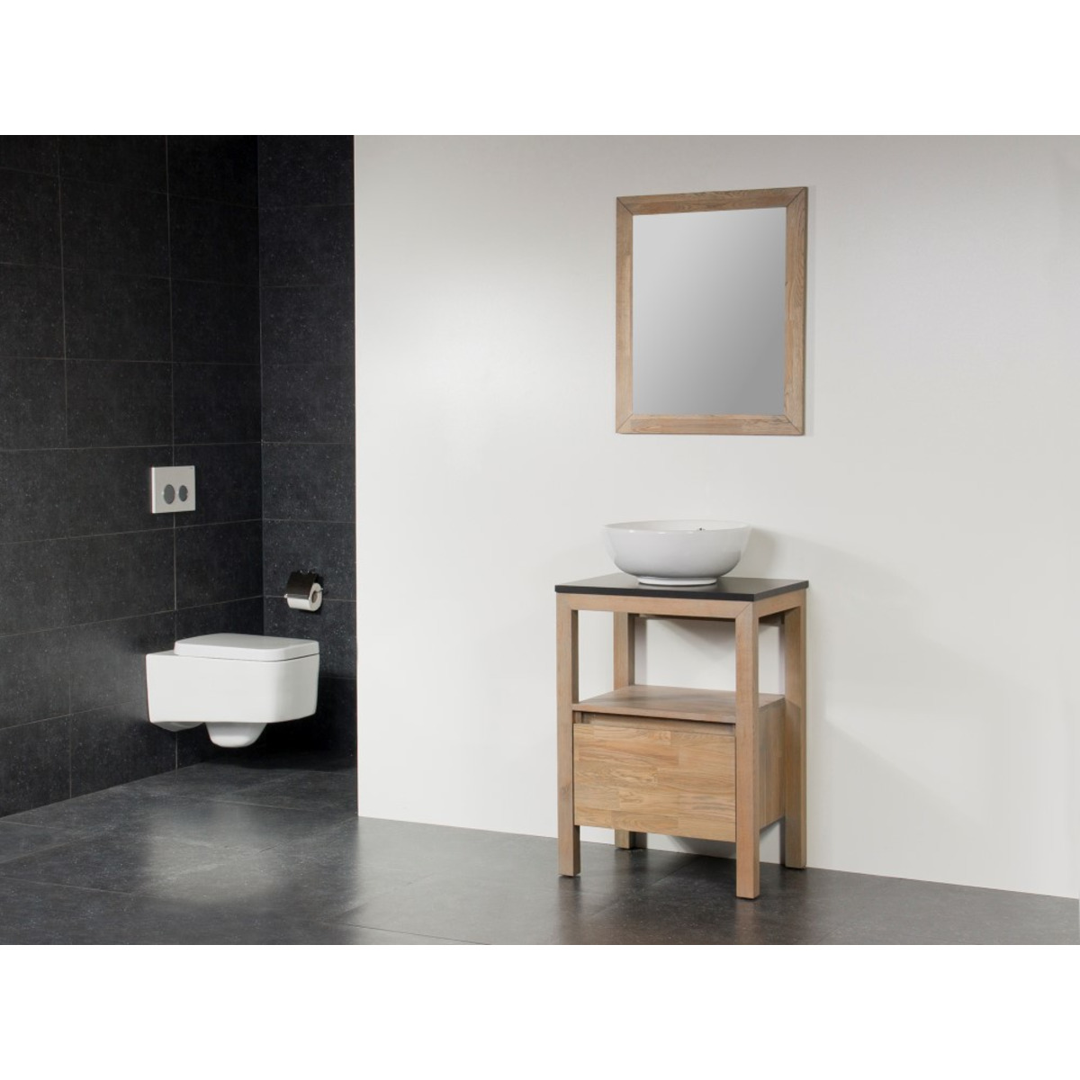 saniclass natural wood meuble salle de bain avec miroir 60cm grey wash avec vasque poser blanc. Black Bedroom Furniture Sets. Home Design Ideas