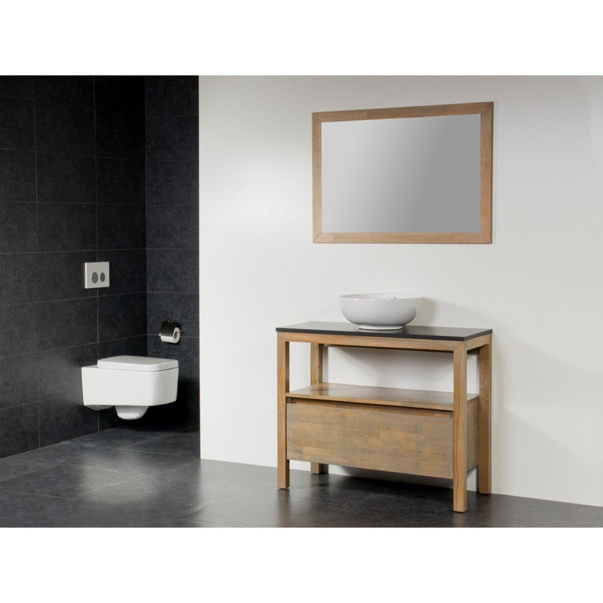 saniclass natural wood meuble salle de bain avec miroir 100cm grey oak avec vasque poser blanc. Black Bedroom Furniture Sets. Home Design Ideas