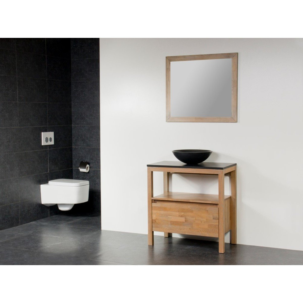 saniclass natural wood meuble salle de bain avec miroir 80cm grey oak avec vasque poser noir. Black Bedroom Furniture Sets. Home Design Ideas
