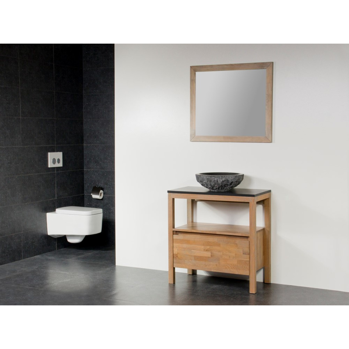 saniclass natural wood meuble salle de bain avec miroir 80cm grey wash avec vasque poser en. Black Bedroom Furniture Sets. Home Design Ideas