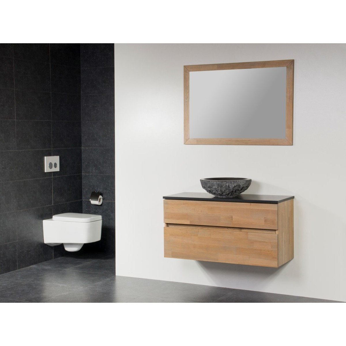 saniclass natural wood meuble salle de bain avec miroir 100cm suspendu grey wash avec vasque. Black Bedroom Furniture Sets. Home Design Ideas