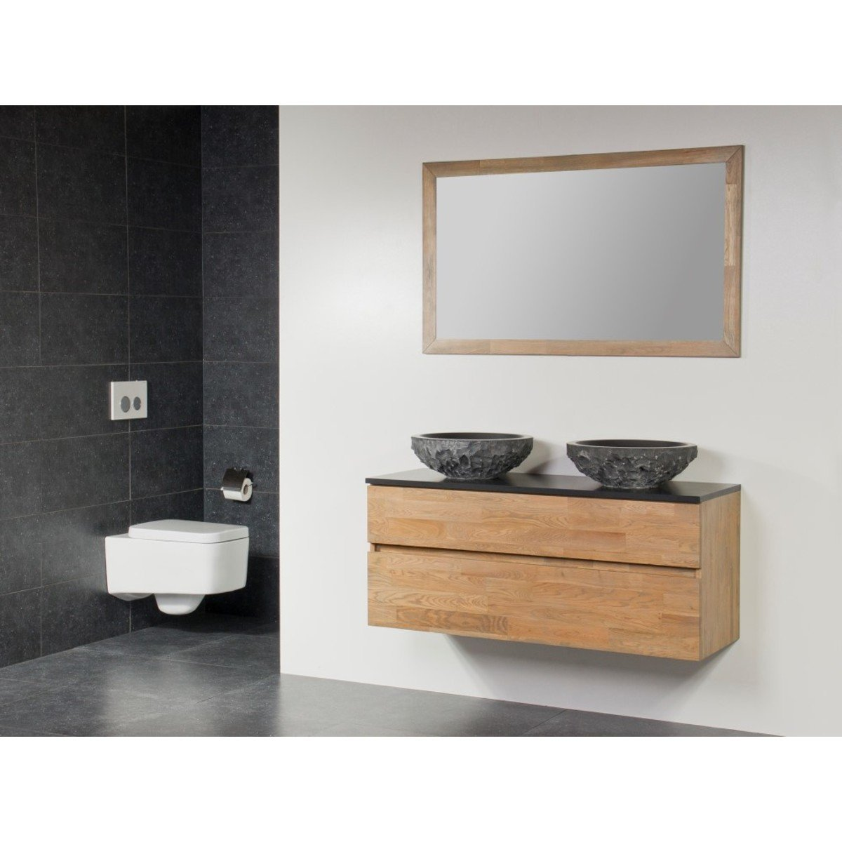 saniclass natural wood meuble salle de bain avec miroir 120cm suspendu grey wash avec 2 vasques. Black Bedroom Furniture Sets. Home Design Ideas