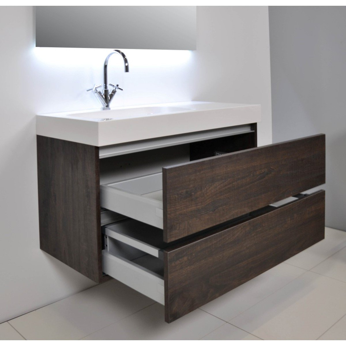 ink tablet set de meubles salle de bain 90cm avec armoire miroir sans poign e ch ne naturel. Black Bedroom Furniture Sets. Home Design Ideas