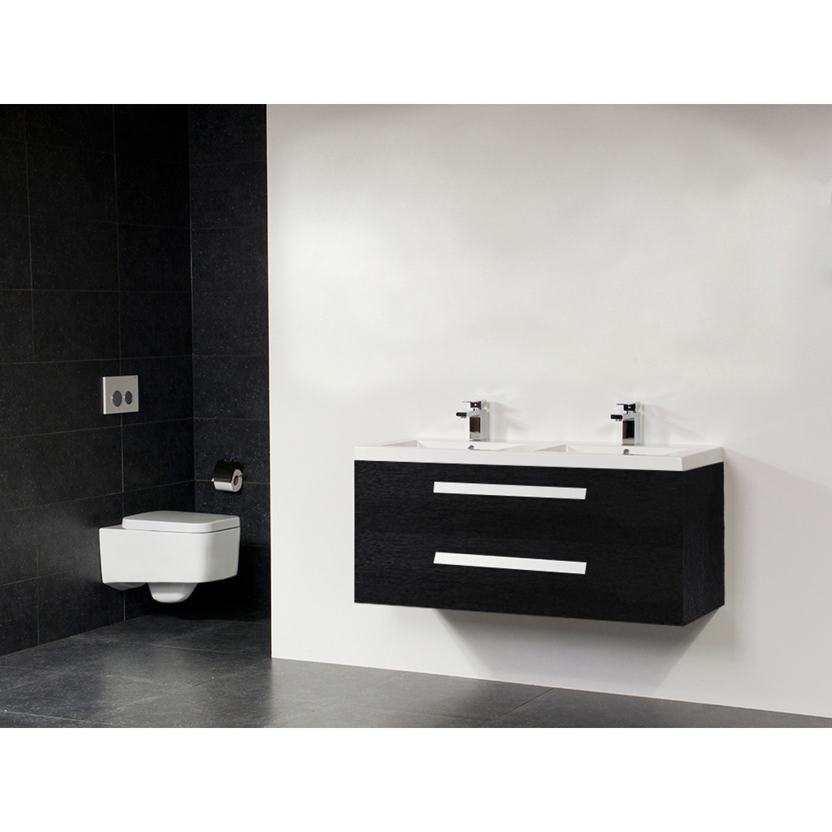 saniclass foggia meuble salle de bain 120cm 2 vasques et 2 trous pour robinetterie black wood. Black Bedroom Furniture Sets. Home Design Ideas