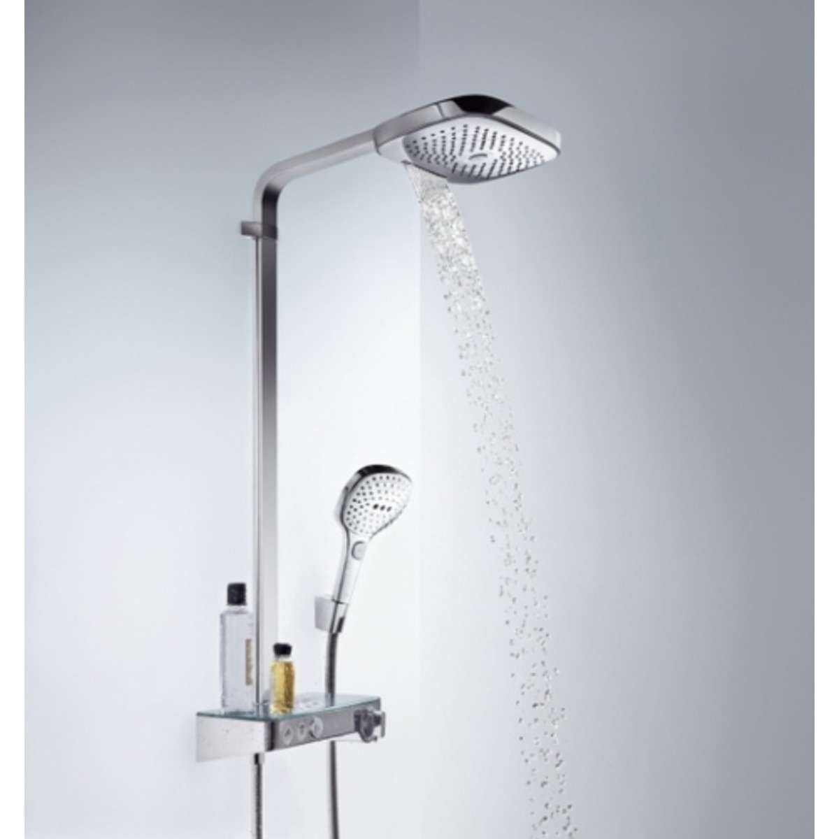 hansgrohe raindance select e300 showerpipe met showertablet 300 opbouwkraan thermostatisch met. Black Bedroom Furniture Sets. Home Design Ideas