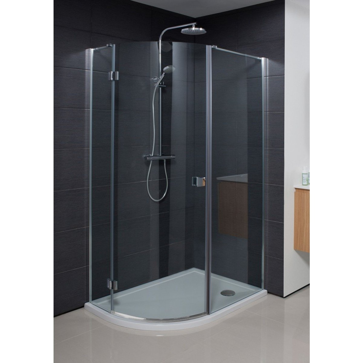 simpsons design cabine de douche 195x100x80cm quart de rond porte pivotante profil argent verre. Black Bedroom Furniture Sets. Home Design Ideas