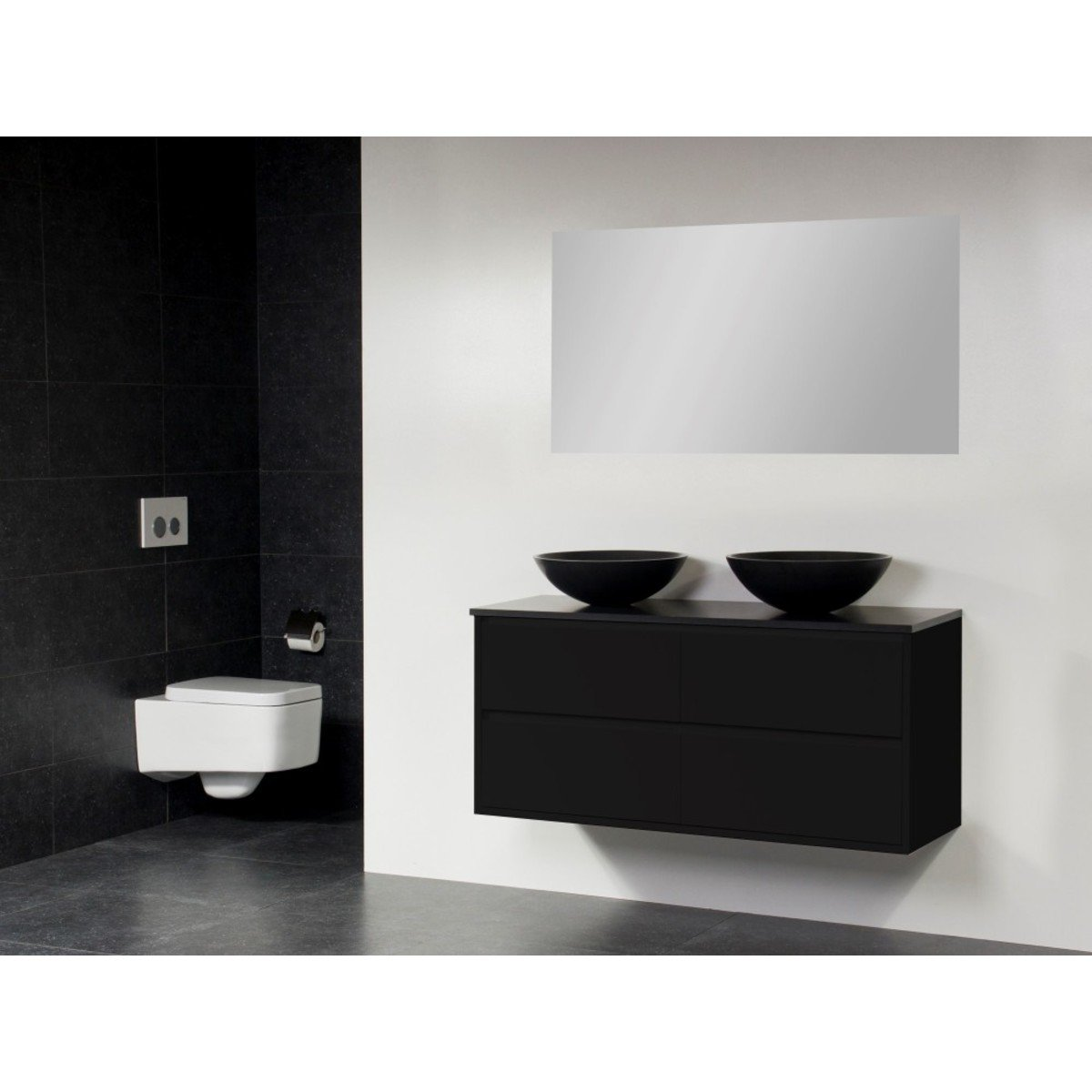 saniclass new future corestone13 meuble salle de bain avec vasque poser noir 120cm avec miroir. Black Bedroom Furniture Sets. Home Design Ideas
