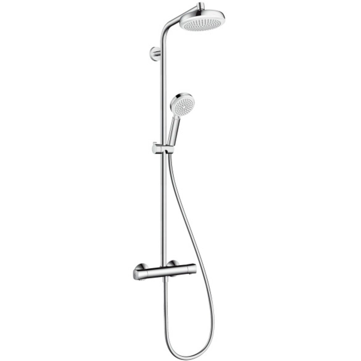 hansgrohe crometta 160 colonne de douche thermostatique blanc chrome 27264400. Black Bedroom Furniture Sets. Home Design Ideas