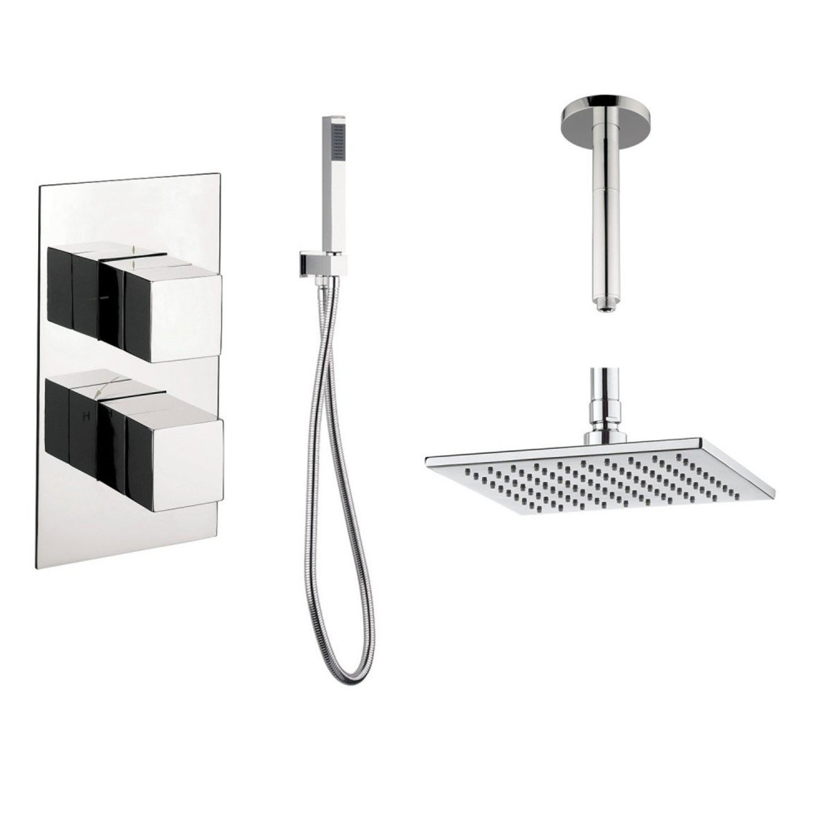 crosswater douche encastrable complet avec inverseur 2 voies et douche de t te carr 30cm avec. Black Bedroom Furniture Sets. Home Design Ideas