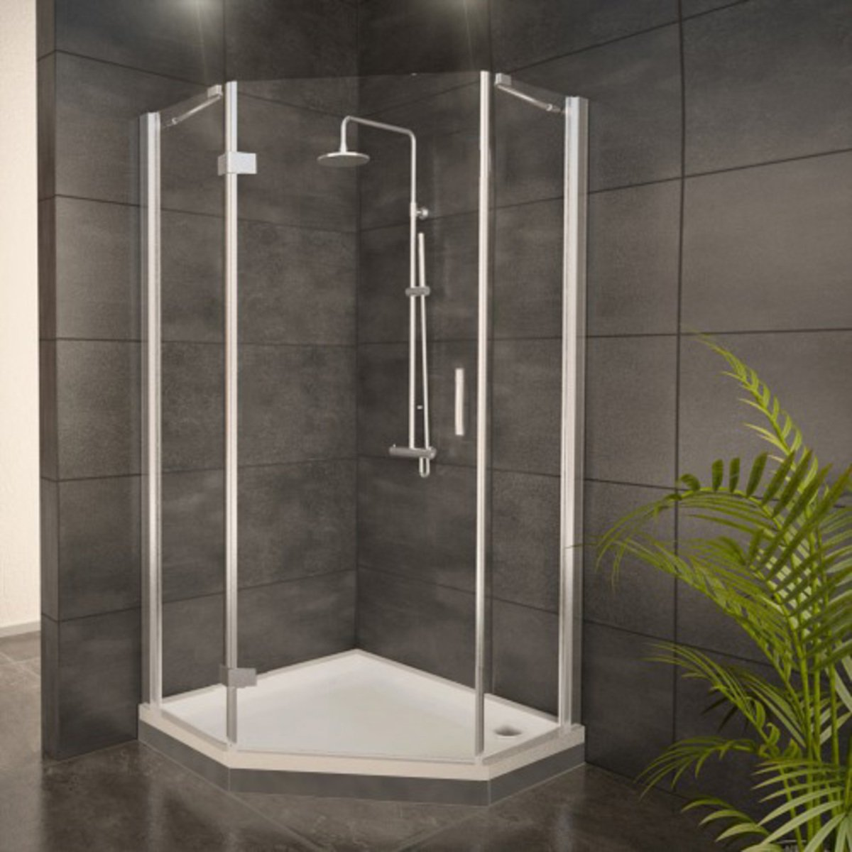 adema glass cabine de douche pentagone avec 1 porte. Black Bedroom Furniture Sets. Home Design Ideas