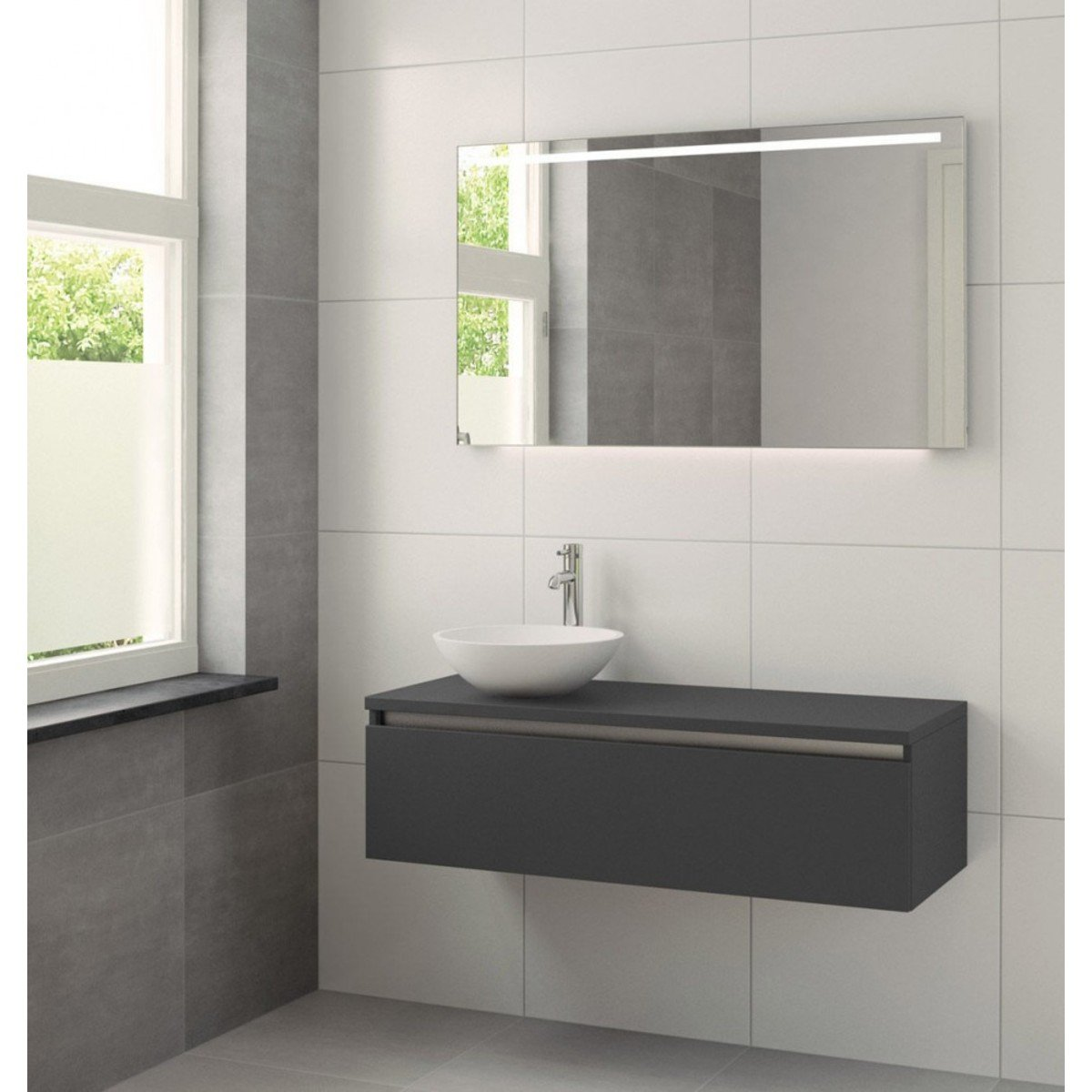 bruynzeel giro set de meuble salle de bain 120cm lavabo miroir et clairage led graphite. Black Bedroom Furniture Sets. Home Design Ideas