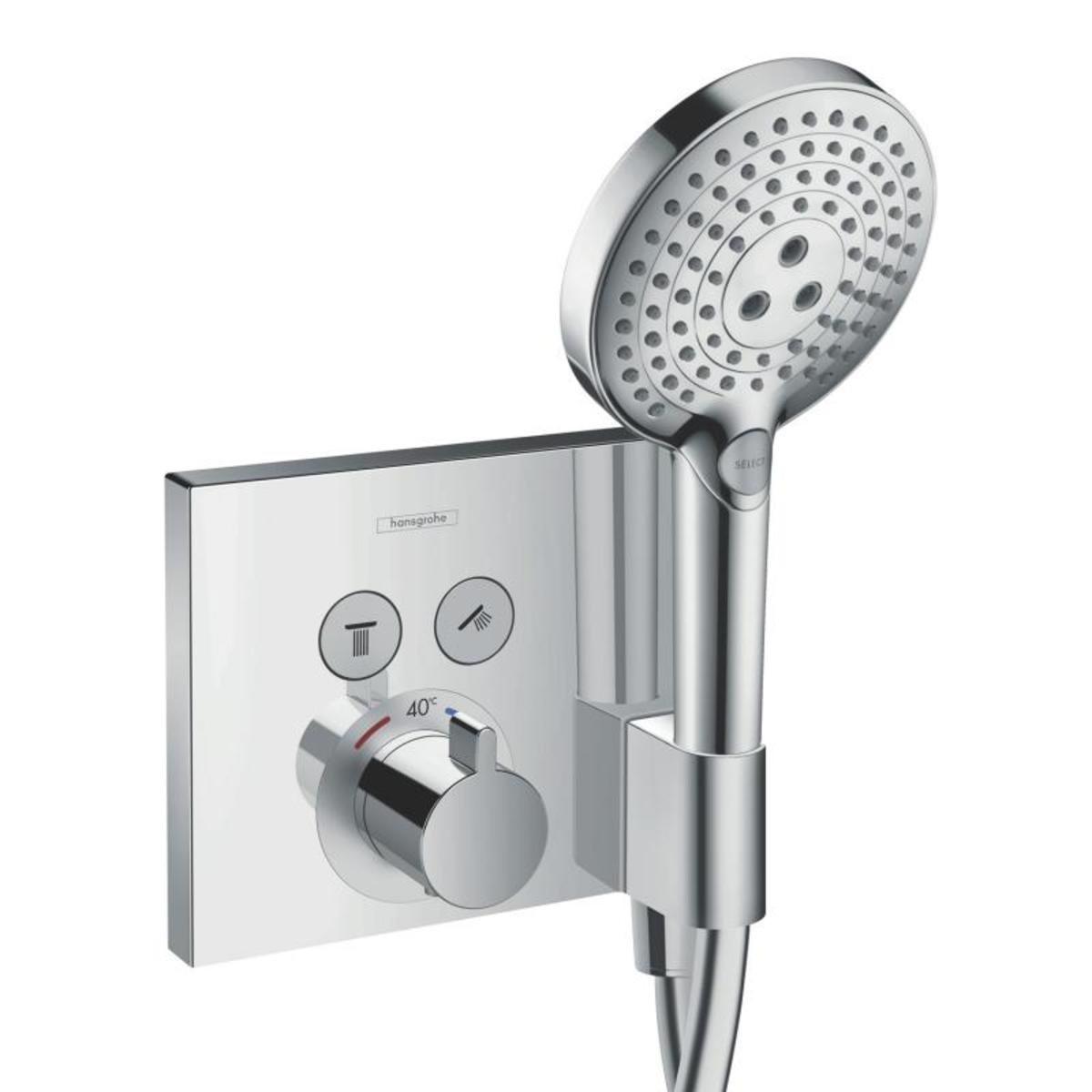Hansgrohe showerselect set de finition pour robinet de douche thermostatique encastrable 2 voies - Installation douche encastrable ...