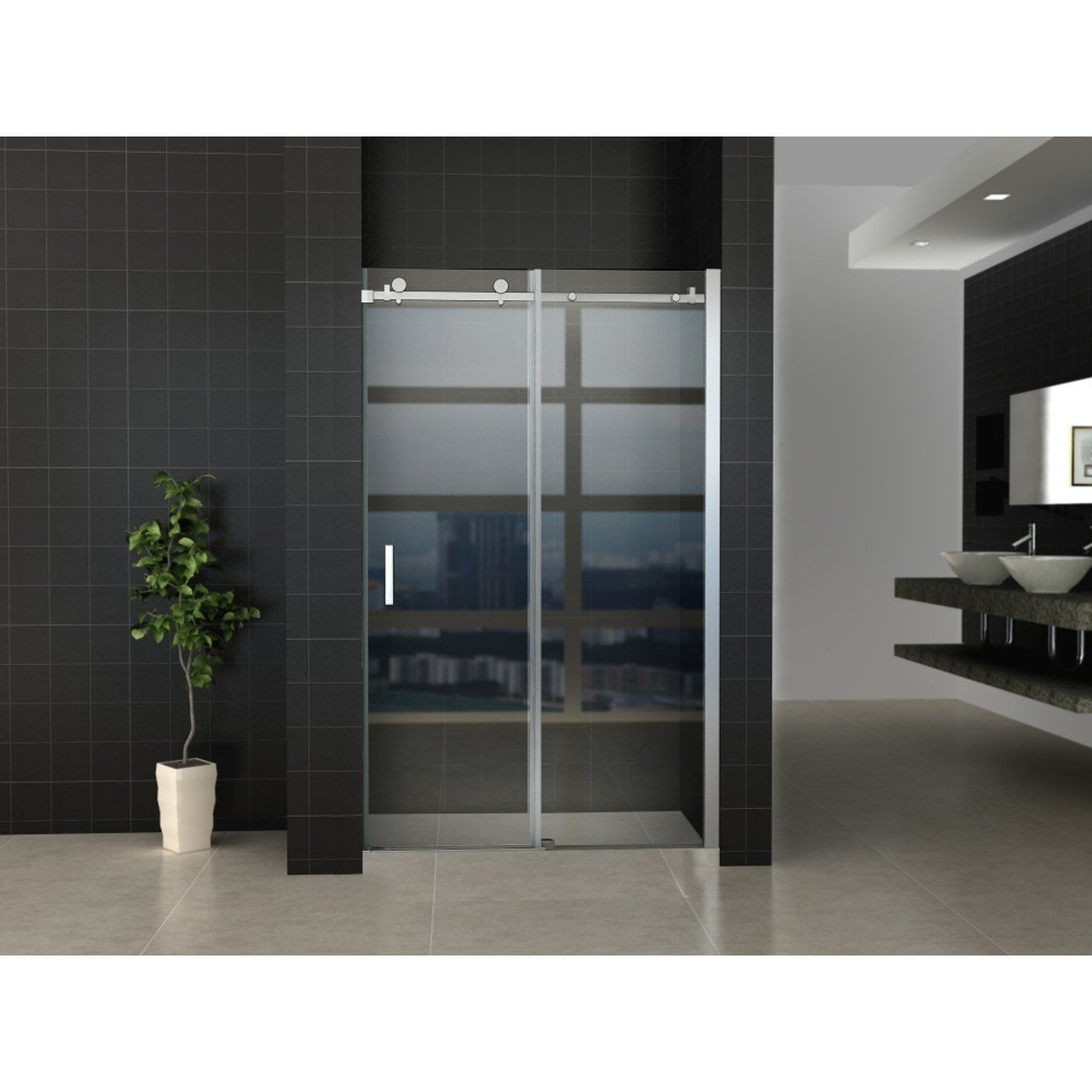 praya nano porte coulissante 110x200cm avec vitre de s curit 8mm traitement anticalcaire argent. Black Bedroom Furniture Sets. Home Design Ideas