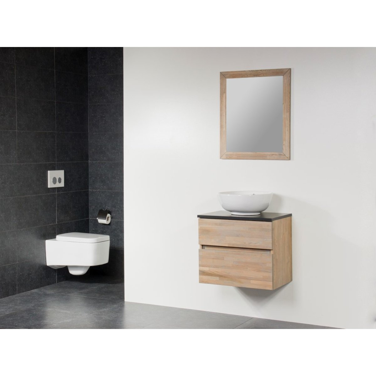 saniclass natural wood meuble salle de bain avec miroir 60cm suspendu grey wash avec vasque. Black Bedroom Furniture Sets. Home Design Ideas