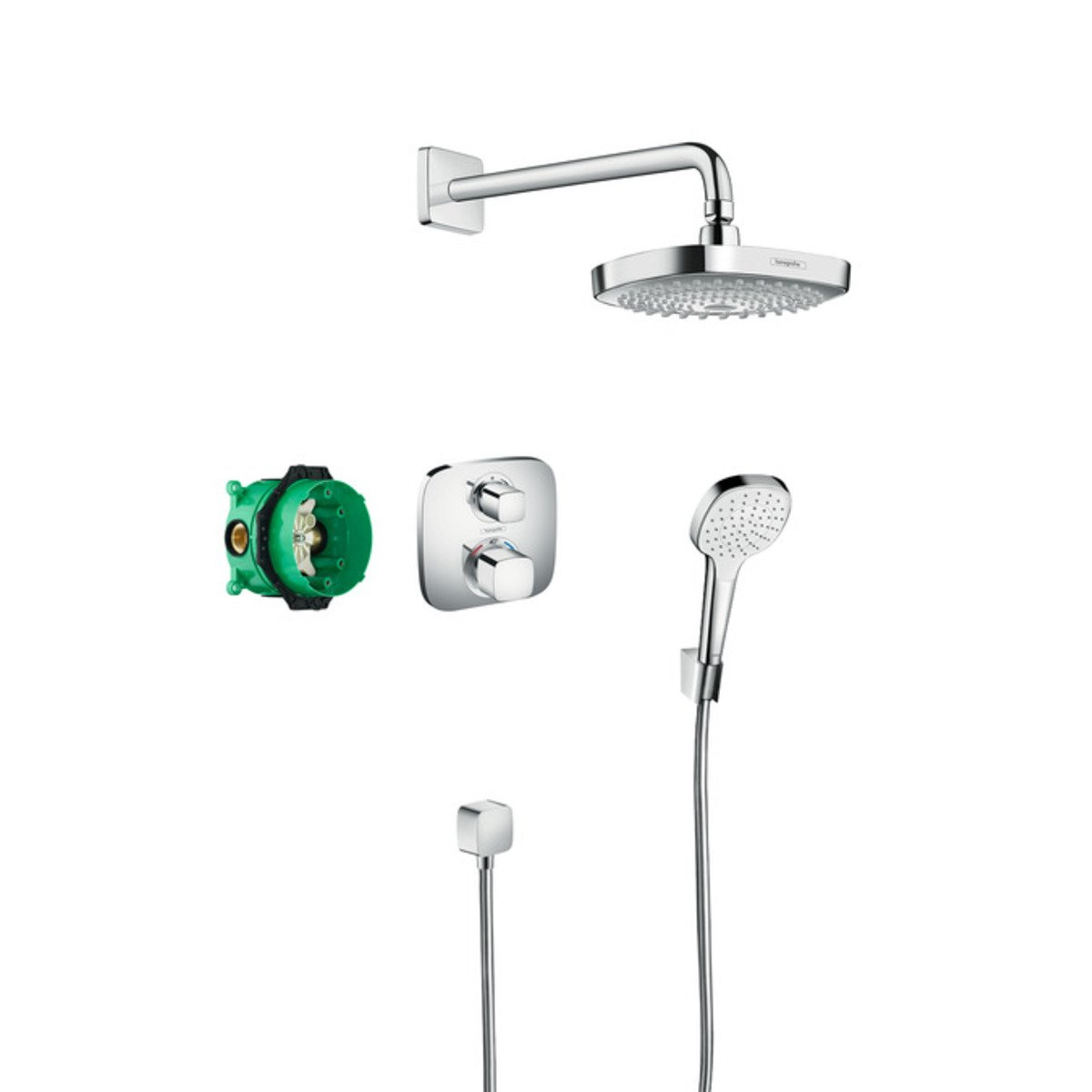 hansgrohe croma select e showerset compleet met ecostat e thermostaat chroom 27294000. Black Bedroom Furniture Sets. Home Design Ideas