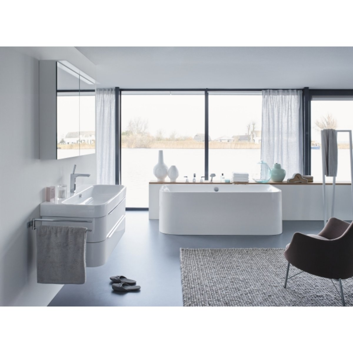 duravit happy d 2 back to wall bad 180 x 80cm met badpanelen wit 700318000000000. Black Bedroom Furniture Sets. Home Design Ideas