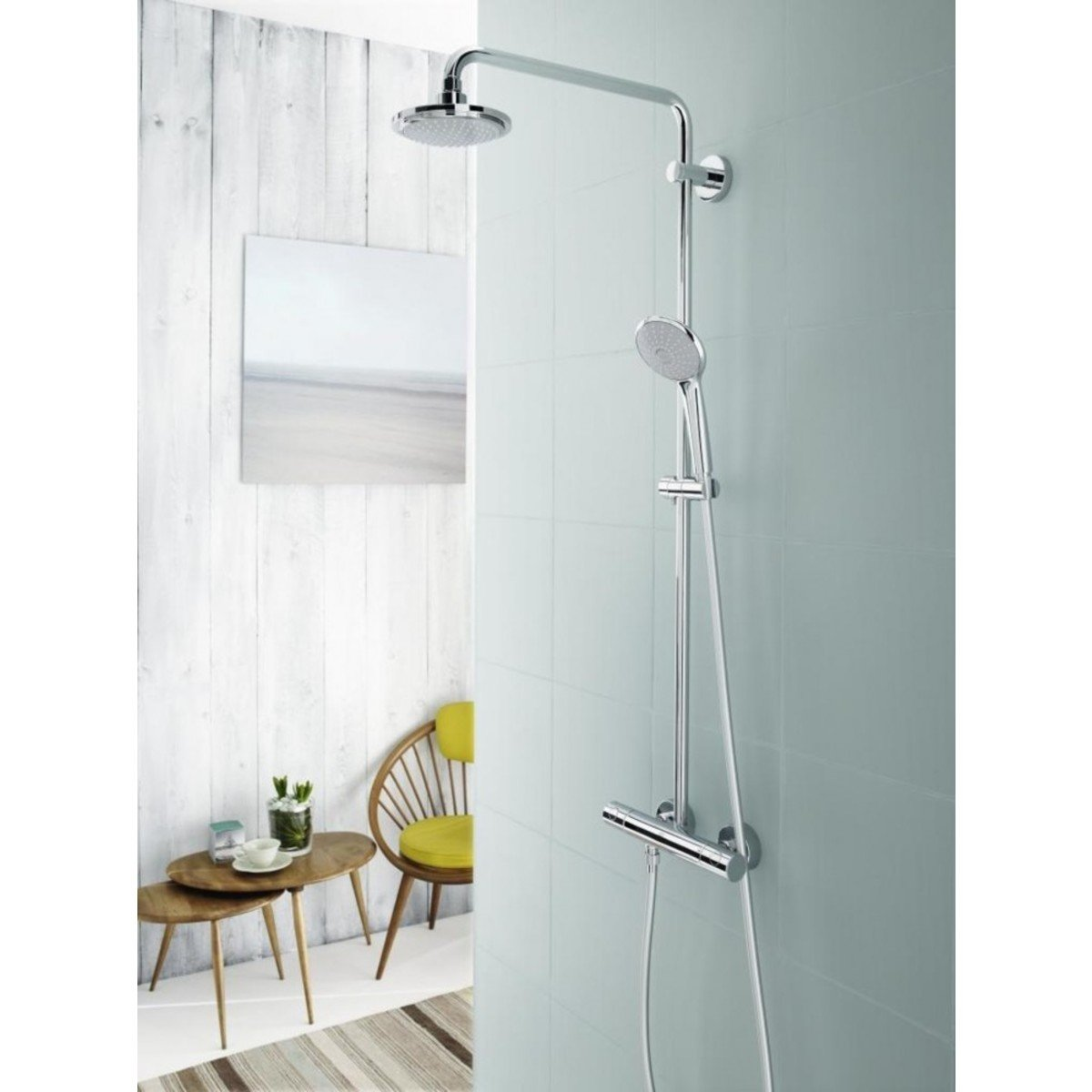 grohe euphoria colonne de douche avec robinet thermostatique tablette et rainshower cosmo 210. Black Bedroom Furniture Sets. Home Design Ideas