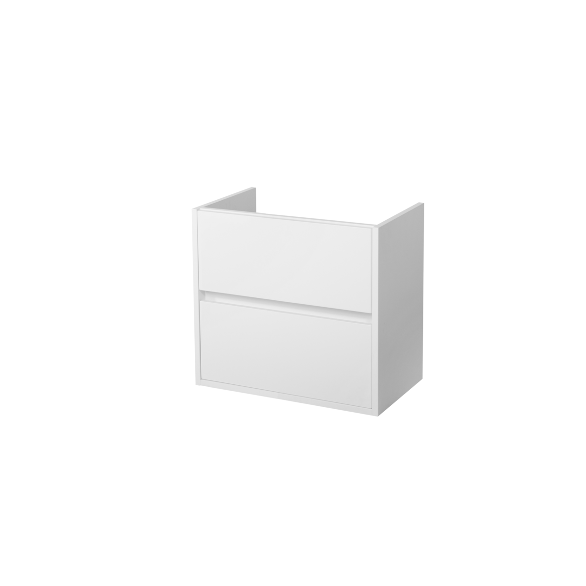 Saniclass nexxt small meuble lavabo 59x55x39cm 2 tiroirs for Meuble sous lavabo blanc laque