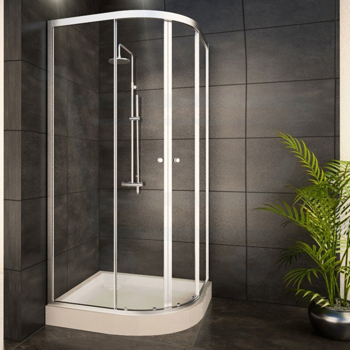 adema glass cabine de douche quart de rond avec 2 portes coulissantes 80x80x185cm verre. Black Bedroom Furniture Sets. Home Design Ideas