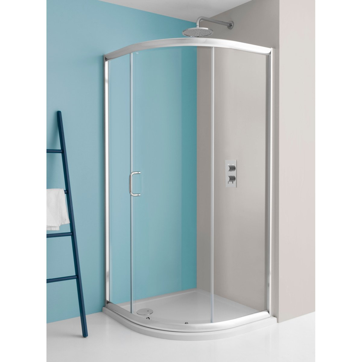simpsons supreme cabine de douche 185x100x80cm quart de rond porte glissante profil argent verre. Black Bedroom Furniture Sets. Home Design Ideas