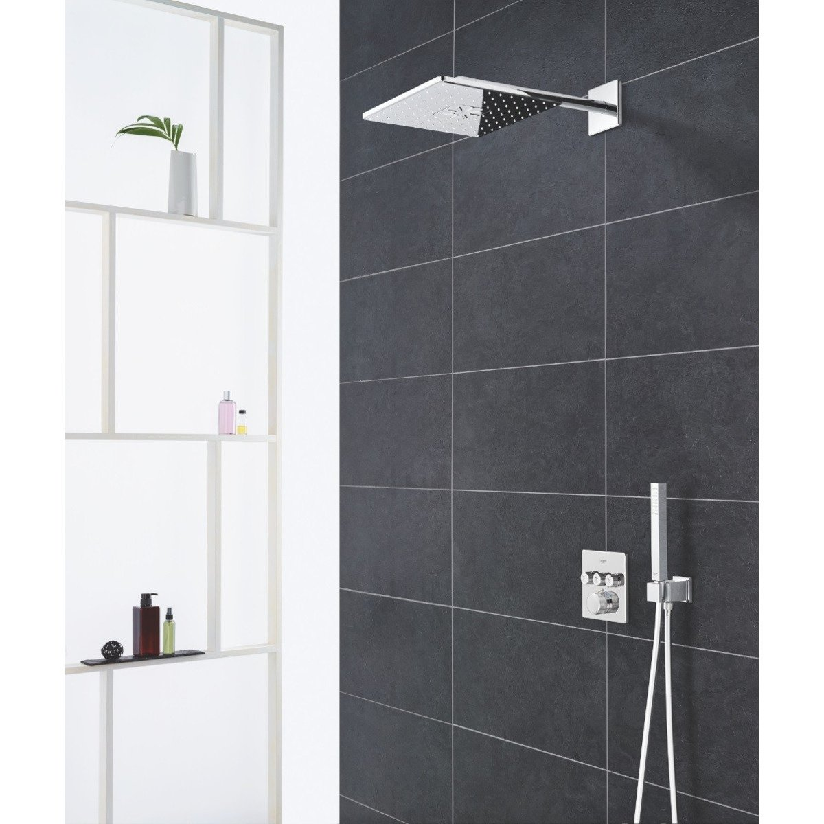 grohe grohtherm smartcontrol set de douche thermostatique rectangulaire avec douche de t te et. Black Bedroom Furniture Sets. Home Design Ideas