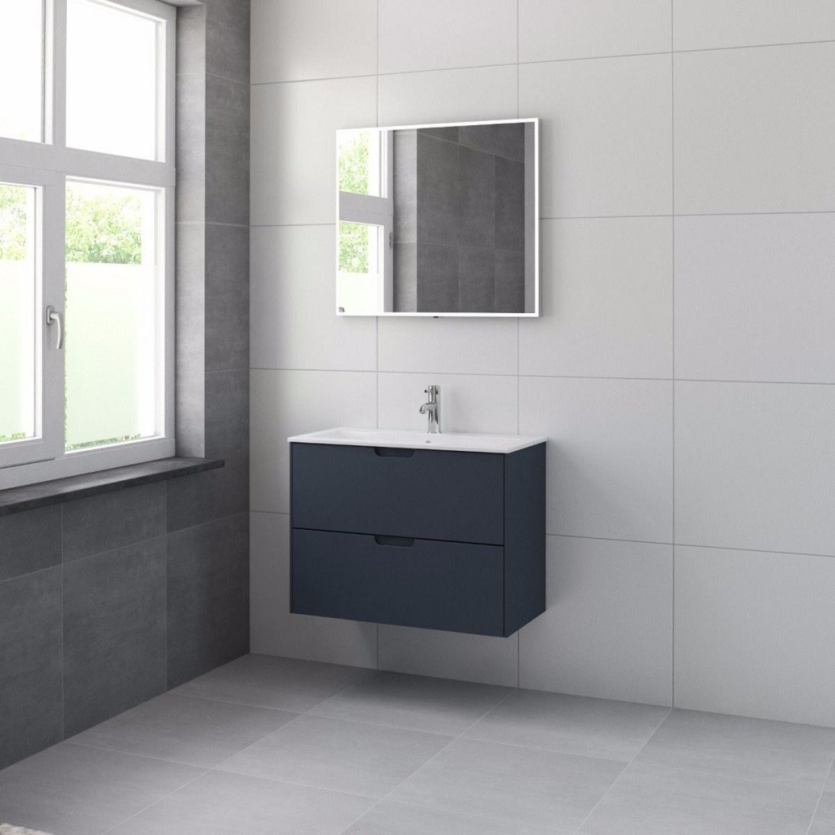 bruynzeel karo meuble sous lavabo 80cm 2 tiroirs bleu ancien 227145. Black Bedroom Furniture Sets. Home Design Ideas