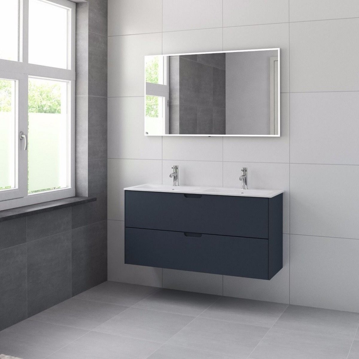 bruynzeel karo meuble sous lavabo 120cm 2 tiroirs bleu ancien 227165. Black Bedroom Furniture Sets. Home Design Ideas