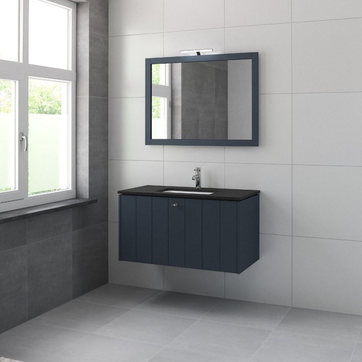 bruynzeel bino meuble sous lavabo 100cm 2 tiroirs bleu 231349. Black Bedroom Furniture Sets. Home Design Ideas