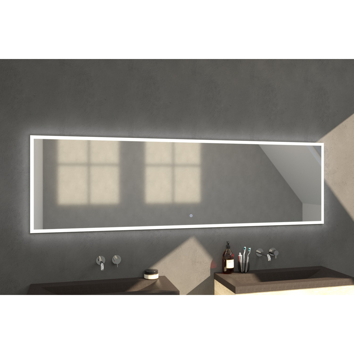 saniclass edge miroir avec clairage led 240x70cm. Black Bedroom Furniture Sets. Home Design Ideas