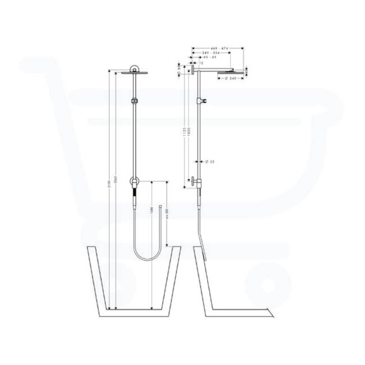 hansgrohe raindance connect douchesysteem air 240mm 27421000. Black Bedroom Furniture Sets. Home Design Ideas