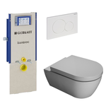 saniclass salina toiletset met geberit sanbloc element softclose toiletzitting en witte sigma 01 bedieningsplaat