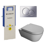 saniclass salina toiletset met geberit sanbloc element softclose toiletzitting en mat chroom sigma 01 bedieningsplaat