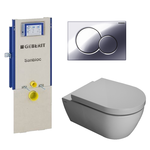 saniclass salina toiletset met geberit sanbloc element softclose toiletzitting en glans chroom sigma 01 bedieningsplaat