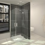 saniclass cansano douchecabine vierkant met draaideur 90x90x195 helder glas chroom outlet