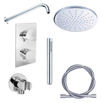 adema shower set de douche encastrable avec douche de tete 30cm et support mural complet chrome
