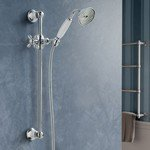 hotbath amixw set de barre de glissement 60.5cm complet avec garniture de douche laiton chrome
