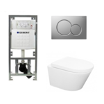 praya vesta toiletset rimless 52cm inclusief up320 toiletreservoir en softclose toiletzitting met bedieningsplaat mat verchroomd