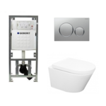 praya vesta toiletset rimless 52cm inclusief up320 toiletreservoir en softclose toiletzitting met bedieningsplaat sigma20 mat chroom