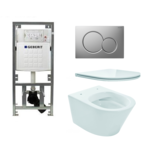 praya vesta toiletset rimless 47cm inclusief up320 toiletreservoir en flatline met softclose en quickrelease toiletzitting met bedieningsplaat mat verchroomd