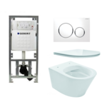 praya vesta toiletset rimless 47cm inclusief up320 toiletreservoir en flatline met softclose en quickrelease toiletzitting met sigma20 bedieningsplaat wit