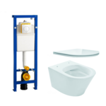 praya vesta toiletset rimless 52cm inclusief wisa xs toiletreservoir en flatline met softclose en quickrelease toiletzitting met bedieningsplaat wit