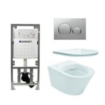 praya vesta toiletset rimless 47cm inclusief up320 toiletreservoir en flatline met softclose en quickrelease toiletzitting met sigma20 bedieningsplaat mat chroom