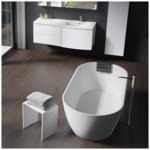 Saniclass Iceland vrijstaand bad 150x75x55.5 solid surface inclusief sifon mat wit SW241482